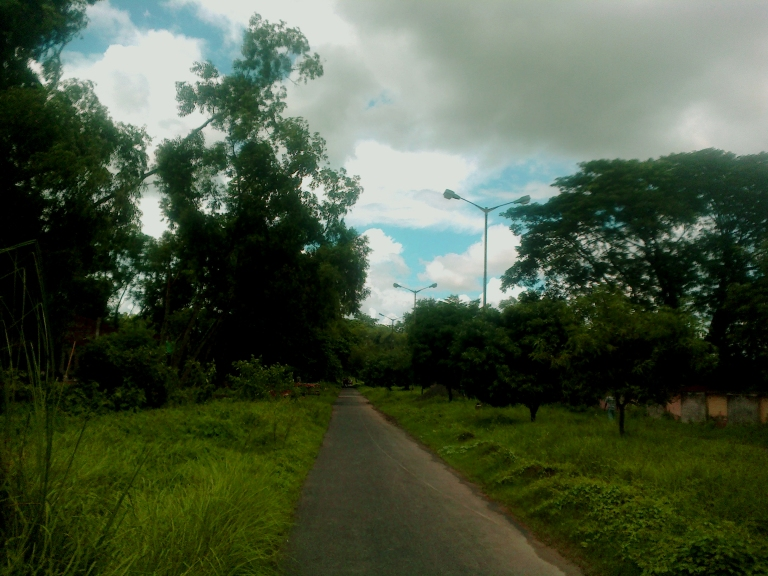 The road leading to APC Roy Boys' Hostel